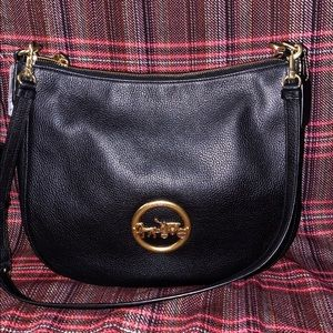 Coach black leather purse with gold hardware